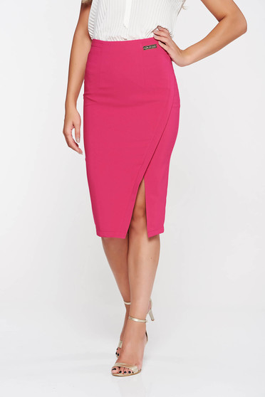 Fusta LaDonna roz office din stofa subtire usor elastica captusita pe interior