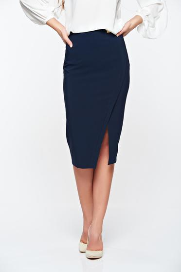Fusta LaDonna albastra-inchis office din stofa subtire usor elastica captusita pe interior