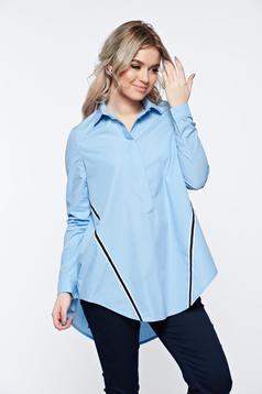 Camasa dama LaDonna albastra casual din bumbac cu croi larg