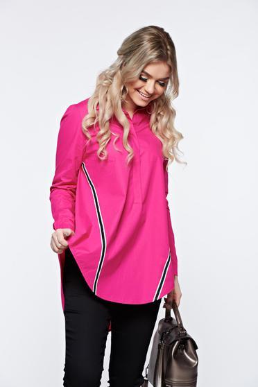Camasa dama LaDonna roz casual din bumbac cu croi larg