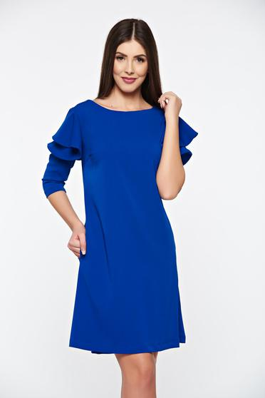 Rochie LaDonna albastra cu croi larg cu volanase la maneca