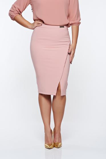 Fusta LaDonna rosa office din stofa subtire usor elastica captusita pe interior