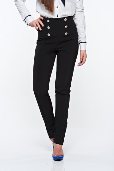 Pantaloni PrettyGirl negri office cu talie inalta din material elastic accesorizati cu nasturi