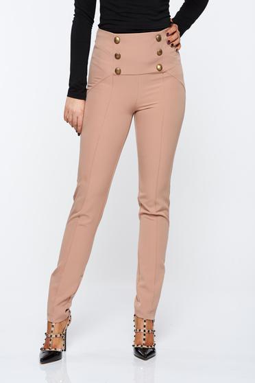 Pantaloni PrettyGirl crem office cu talie inalta din material elastic accesorizati cu nasturi