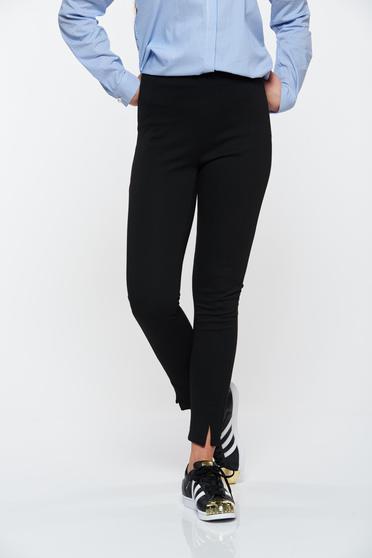 Pantaloni PrettyGirl negri casual conici cu elastic in talie