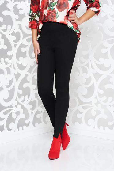 Pantaloni PrettyGirl negri office conici cu talie inalta din material elastic cu elastic in talie