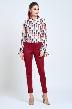 Pantaloni PrettyGirl visinii casual conici cu elastic in talie