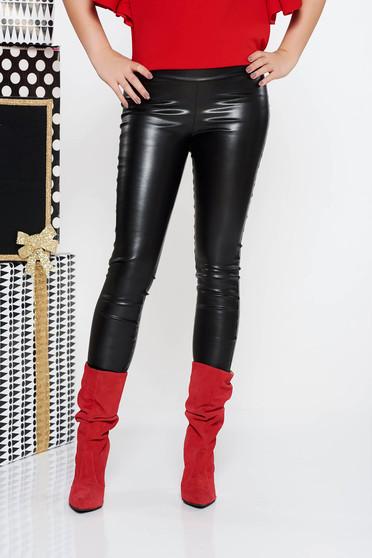 Colanti PrettyGirl negru casual cu un croi mulat cu talie medie din piele ecologica cu elastic in talie