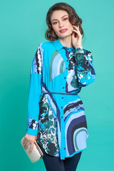Camasa dama PrettyGirl albastra cu croi larg din material vaporos cu accesoriu tip curea