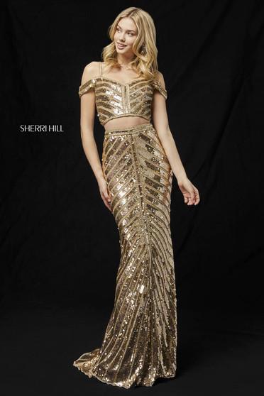 Rochie Sherri Hill 51934 gold