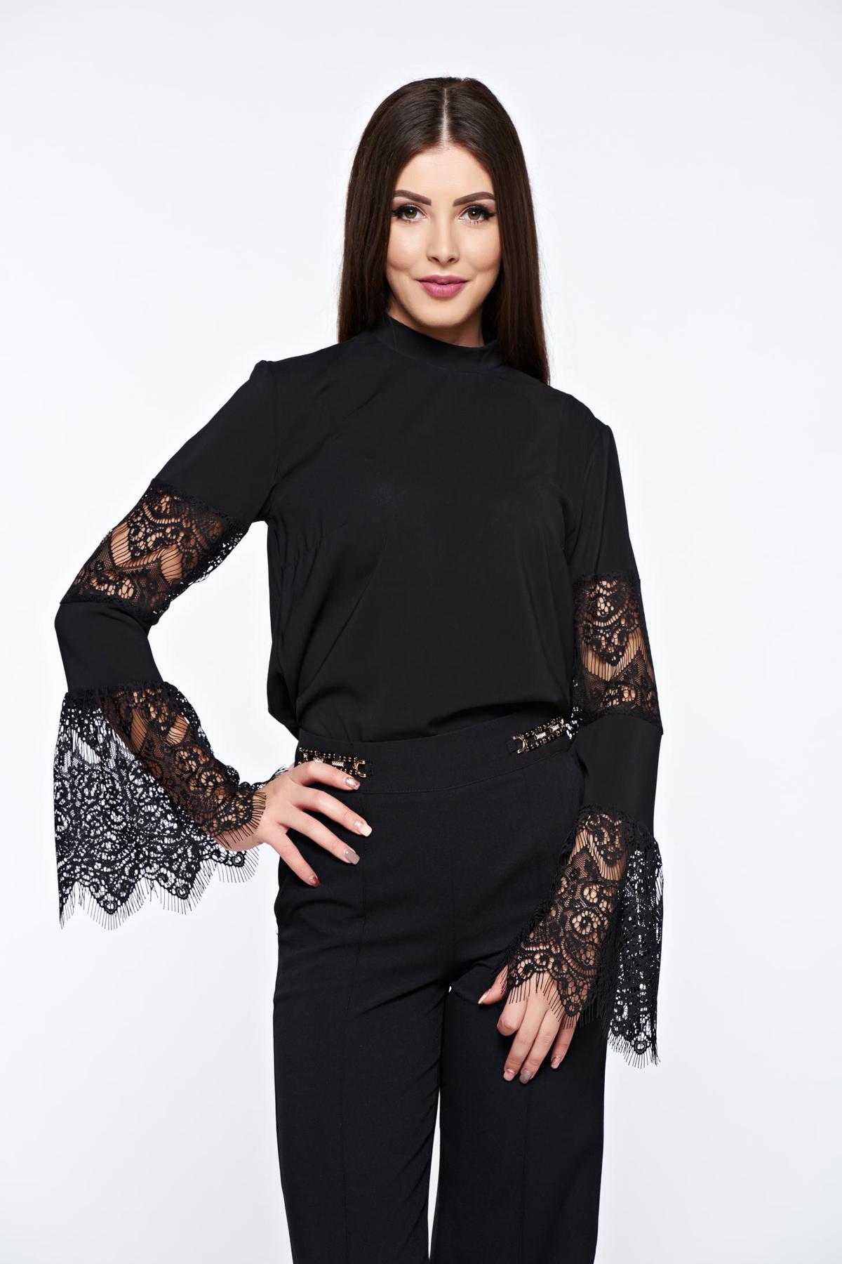 Bluza Dama Starshiners Neagra Eleganta Cu Croi Larg Din Material Fin La Atingere Cu Maneci Clopot Din Dantela