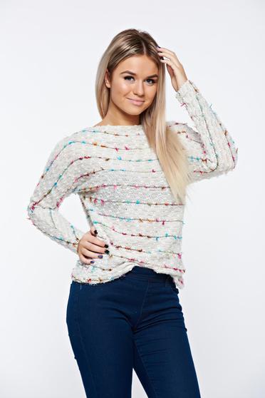 poze cu Pulover Top Secret crem casual tricotat cu croi larg