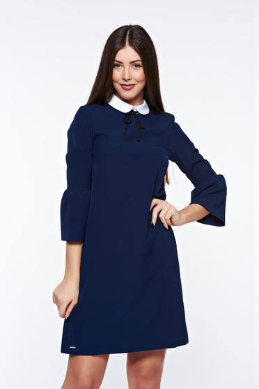 Rochie Top Secret albastra-inchis cu maneci clopot de zi cu croi larg