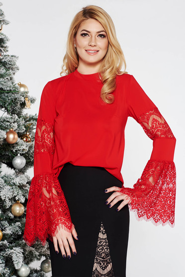 Bluza dama StarShinerS rosie eleganta cu croi larg din material fin la atingere cu maneci clopot din dantela