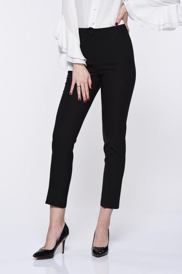 Pantaloni Artista negri office cu talie medie din stofa usor elastica cu buzunare