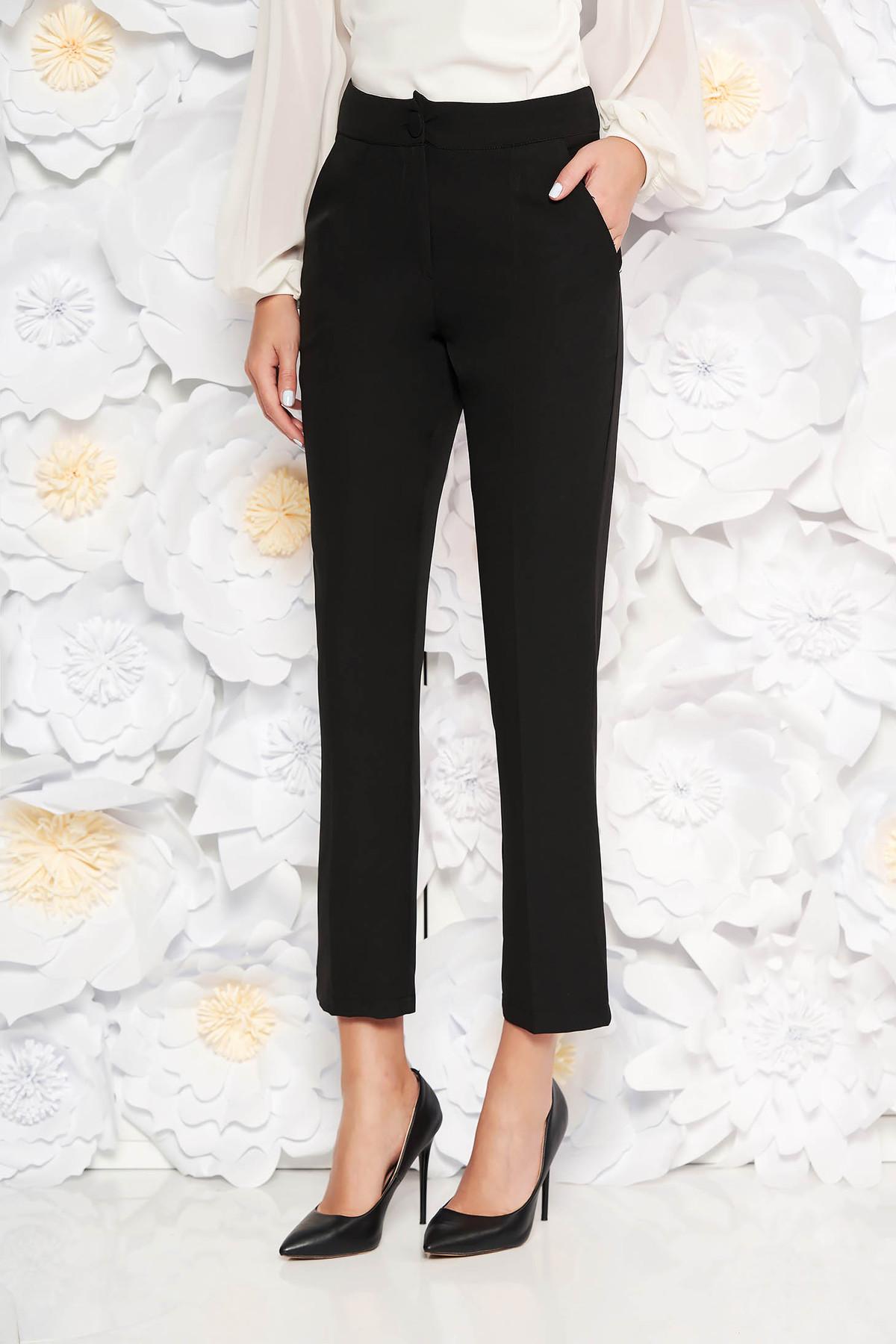 Pantaloni Artista negri office cu un croi drept cu talie medie din stofa usor elastica cu buzunare