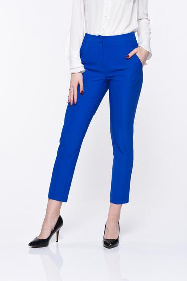 Pantaloni Artista albastri office conici cu talie medie si buzunare