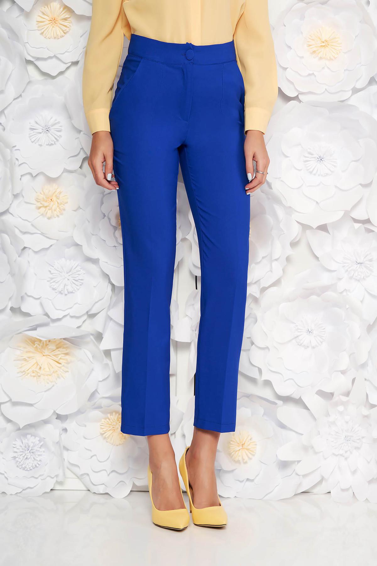 Pantaloni Artista albastri office cu un croi drept cu talie medie din stofa usor elastica cu buzunare