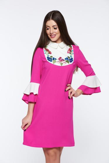 Rochie LaDonna roz eleganta brodata cu croi larg cu maneci clopot