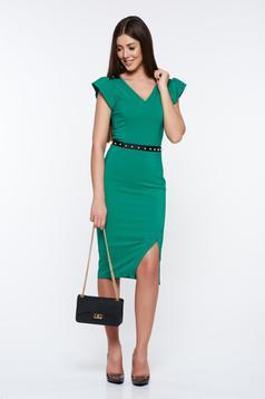 Rochie LaDonna verde eleganta tip creion captusita pe interior cu aplicatii cu perle