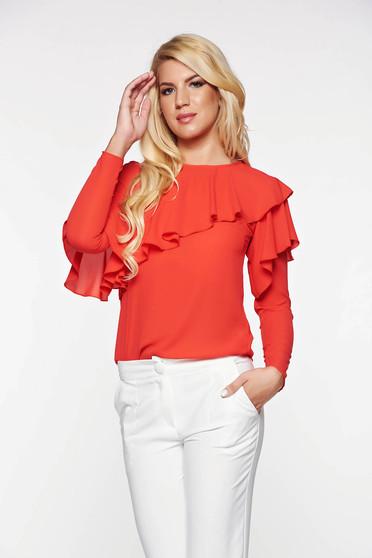 Bluza dama LaDonna rosie eleganta cu croi larg din material vaporos cu volanase