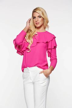 Bluza dama LaDonna roz eleganta cu croi larg din material vaporos cu volanase
