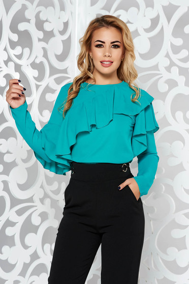 Bluza dama LaDonna verde eleganta cu croi larg din material vaporos cu volanase