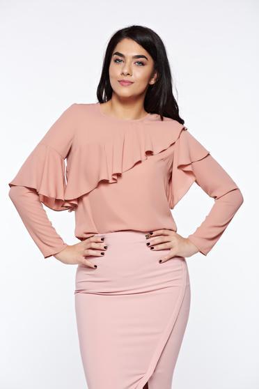 Bluza dama LaDonna rosa eleganta cu croi larg din material vaporos cu volanase