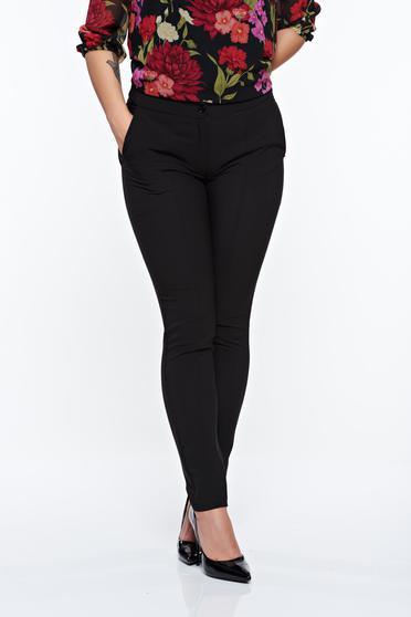 Pantaloni LaDonna negri office conici cu talie medie din material usor elastic