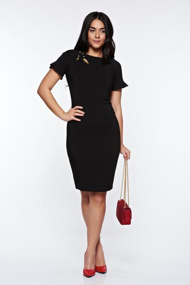 Rochie LaDonna neagra eleganta captusita pe interior cu aplicatii cusute manual