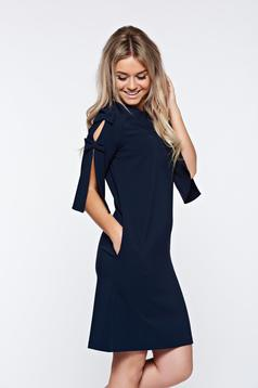 Rochie LaDonna albastra-inchis eleganta din stofa usor elastica cu croi larg