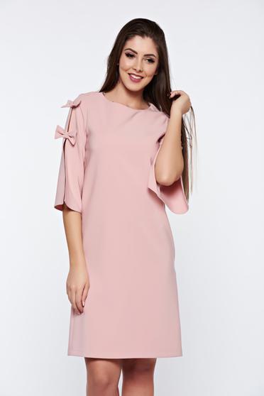 Rochie LaDonna rosa eleganta din stofa usor elastica cu croi larg