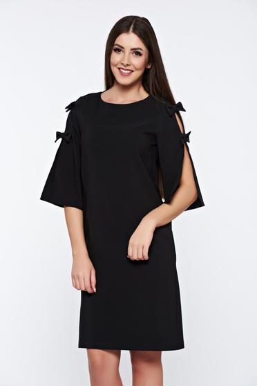 Rochie LaDonna neagra eleganta din stofa usor elastica cu croi larg