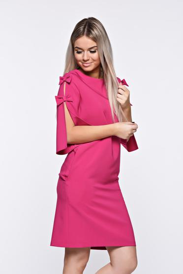 Rochie LaDonna roz eleganta din stofa usor elastica cu croi larg