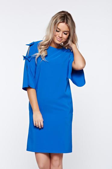 Rochie LaDonna albastra eleganta din stofa usor elastica cu croi larg