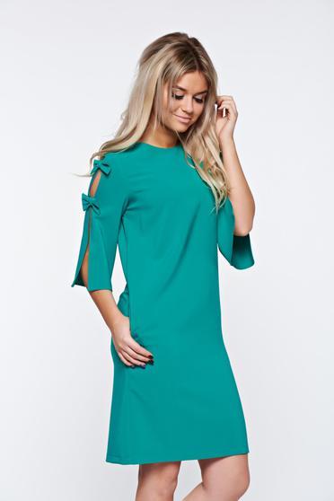 Rochie LaDonna verde eleganta din stofa usor elastica cu croi larg