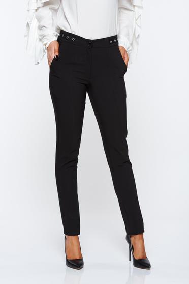 poze cu Pantaloni LaDonna negri office conici cu talie medie din material usor elastic