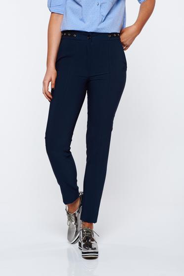 Pantaloni LaDonna albastri-inchis office conici cu talie medie din material usor elastic