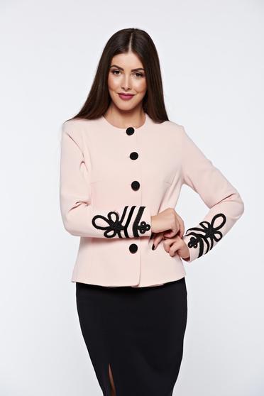 Sacou LaDonna rosa elegant captusit pe interior cu broderie aplicata manual