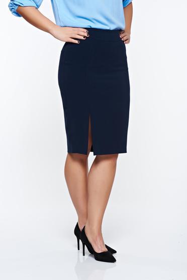 Fusta LaDonna albastra-inchis office din stofa usor elastica captusita pe interior