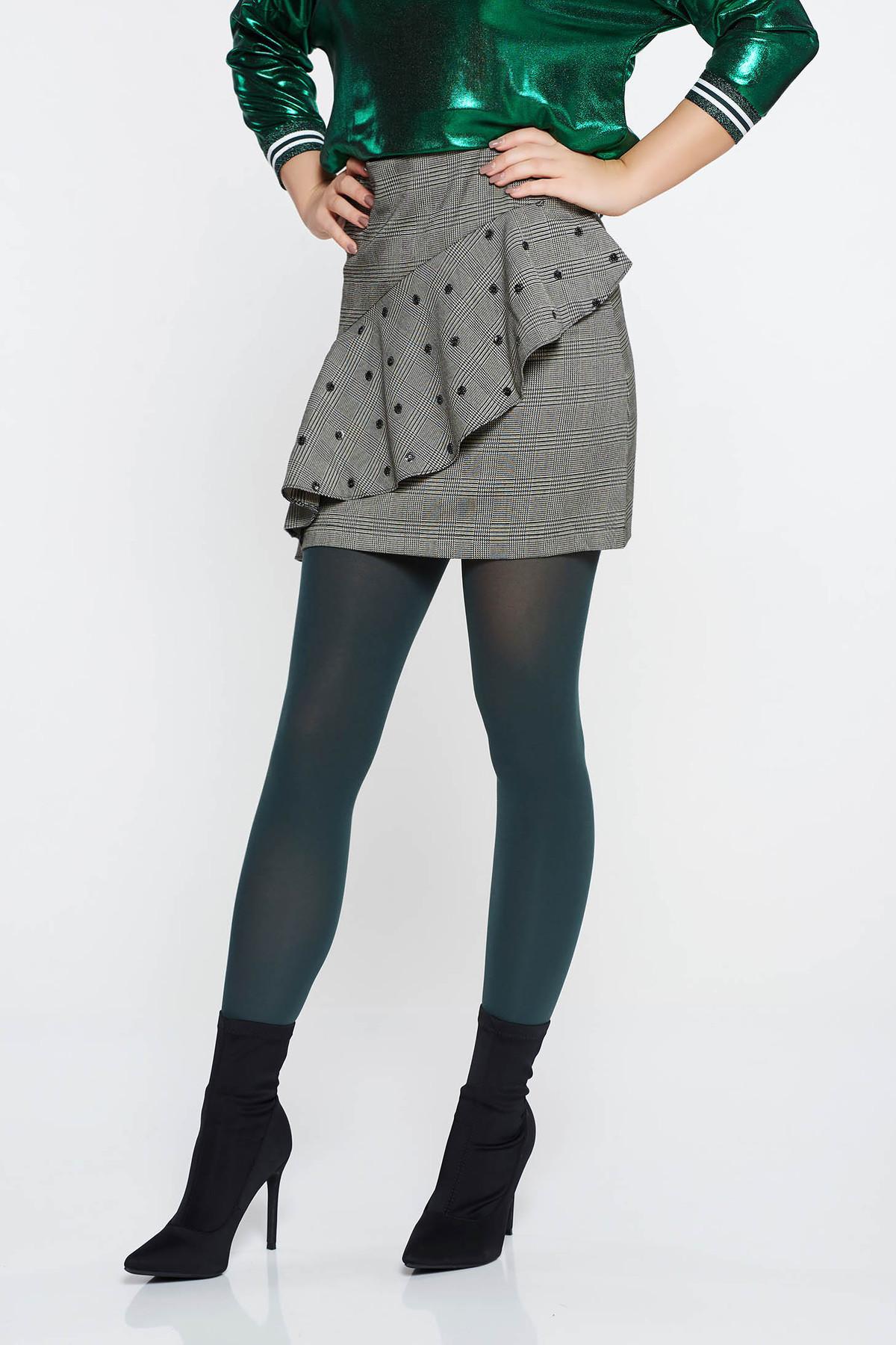 Fusta LaDonna gri casual din stofa usor elastica cu volanase si aplicatii cu paiete