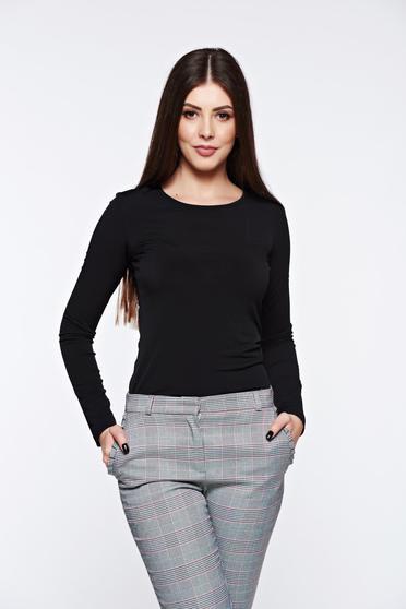 Bluza dama LaDonna neagra basic cu un croi mulat din material usor elastic