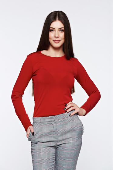 poze cu Bluza dama LaDonna rosie basic cu un croi mulat din material usor elastic