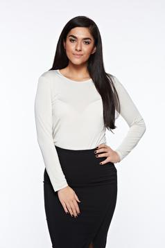 Bluza dama LaDonna crem basic cu un croi mulat din material usor elastic