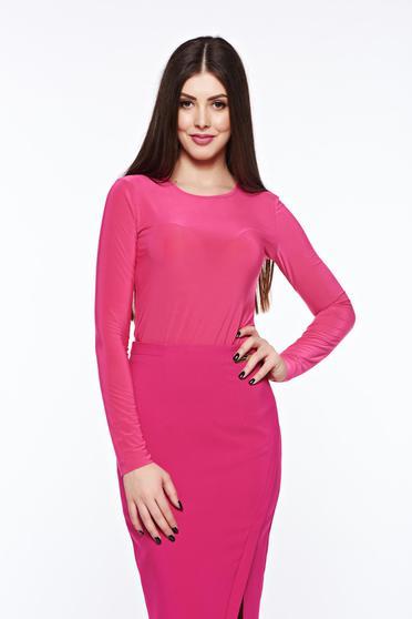 poze cu Bluza dama LaDonna roz basic cu un croi mulat din material usor elastic
