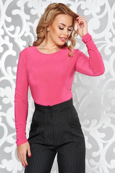 Bluza dama LaDonna roz basic cu un croi mulat din material usor elastic