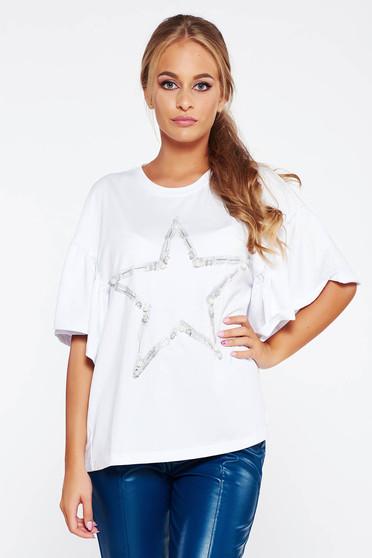 Tricou alb casual din bumbac elastic cu croi larg cu aplicatii cu perle