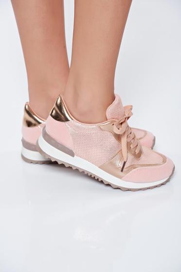 poze cu Pantofi sport roz casual cu talpa usoara din material lucios cu siret