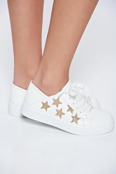 Pantofi sport alb casual cu aplicatii cu sclipici cu siret