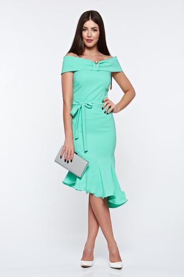 Rochie Artista verde-deschis eleganta din material elastic asimetrica cu umeri goi